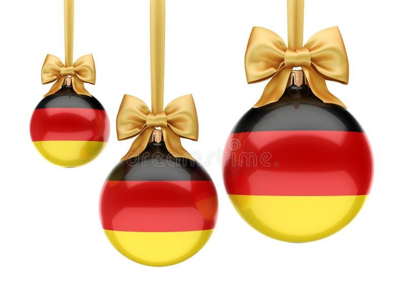 jul för tolkning 3D klumpa ihop sig med flaggan av Tyskland royaltyfri illustrationer