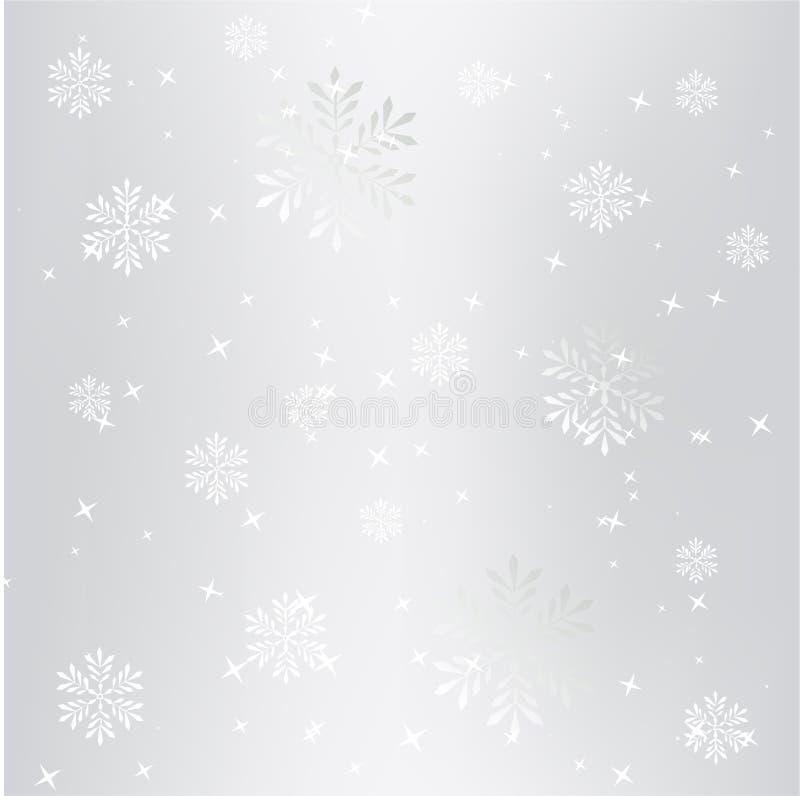 Jul för vinter för abstrakta snöflingor för silver semestrar fallande bakgrund vektor illustrationer