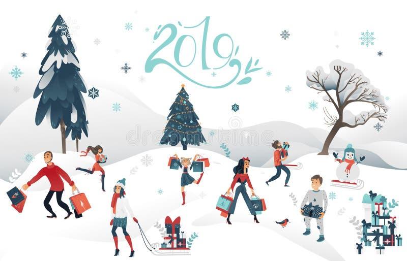 Jul försäljning, rabattsymboluppsättning för nytt år för vektor 2019 stock illustrationer