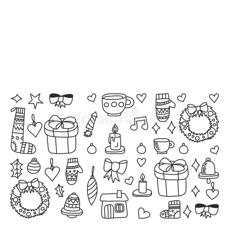 Jul ferie, vinter, vektorillustration Nytt ?rs modell, barns teckningar med en l?rare, ram stock illustrationer