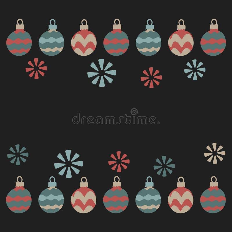 Jul girland, julbollar, snöflingor Vektorillustrationer f?r h?lsningkort vektor illustrationer