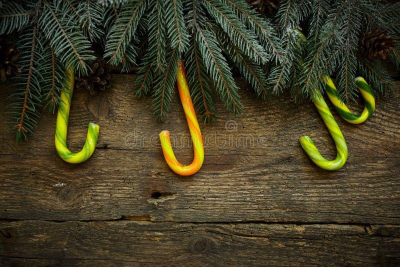 Jul gränsar med granträdfilialer, sörjer kottar och godisen ca royaltyfri foto