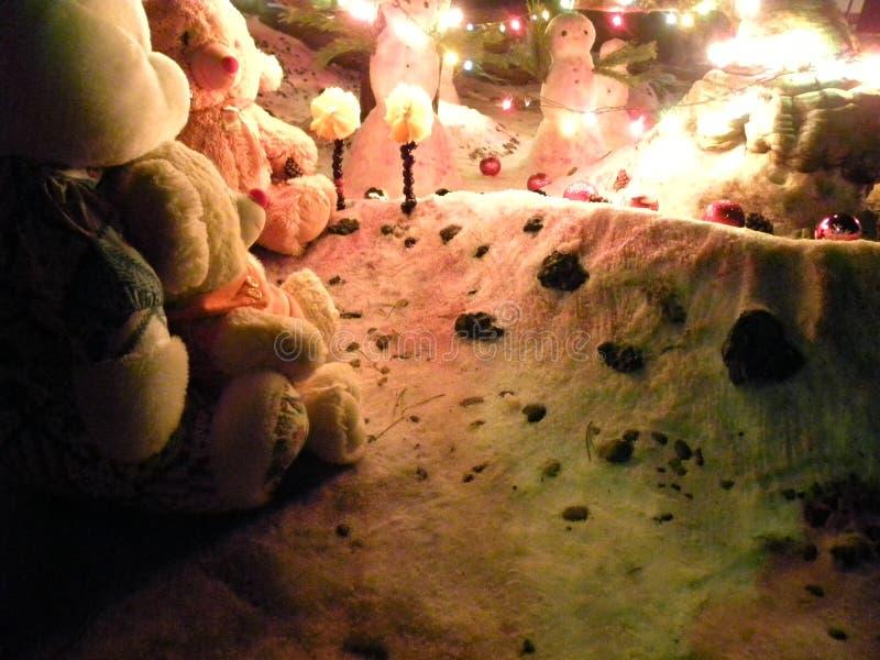 Jul gyckel och snögubbear royaltyfri foto
