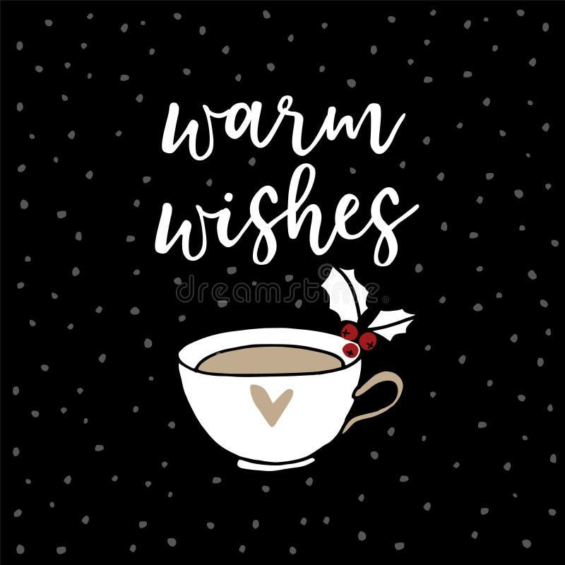 Jul hälsningkort för nytt år, inbjudan Handskrivet värme önskatext Hand dekorerade dragit kopp te eller kaffe royaltyfri illustrationer