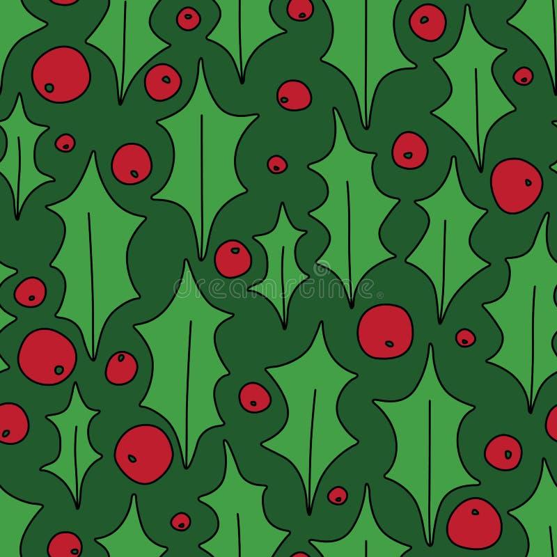Jul Holly Berries Decorative Seamless Pattern på gräsplan vektor illustrationer