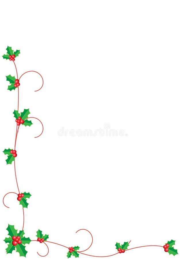Jul Holly Border vektor illustrationer