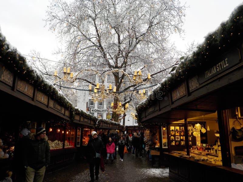 Jul i cologne, germany Julmarknader arkivfoto