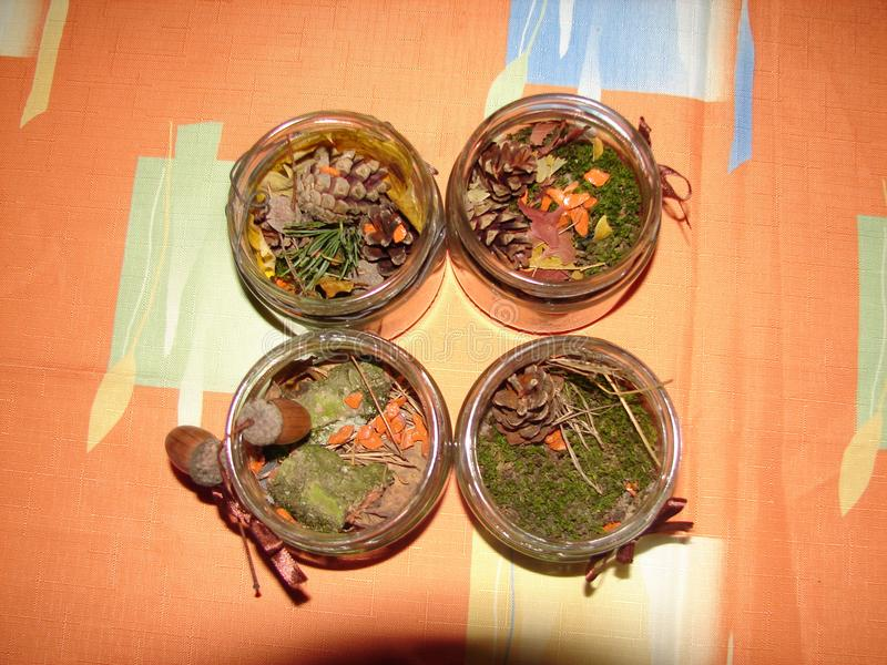 Jul Ikebana, fotostilleben, skogabstraktion royaltyfri bild
