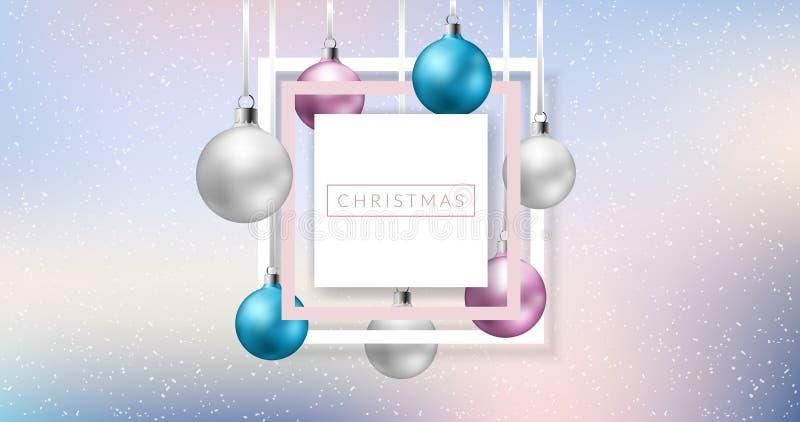 Jul inramar med färgrika bollar vektor illustrationer