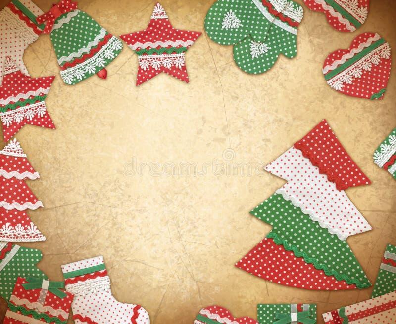 Jul inramar med handgjorda julsymboler Julvinta arkivbilder