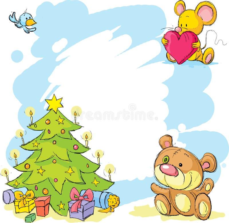 Jul inramar med nallebjörnen, den gulliga musen och fågeln vektor illustrationer