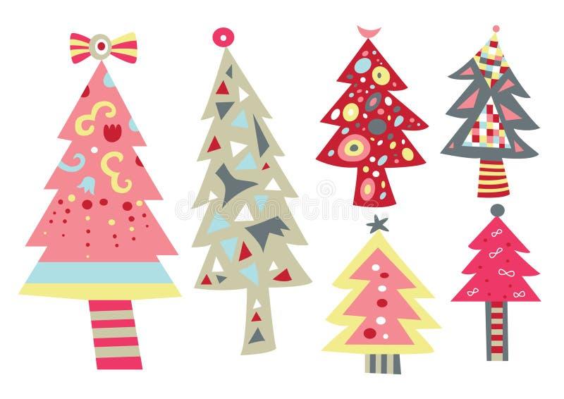 jul inställda stylized trees royaltyfri illustrationer