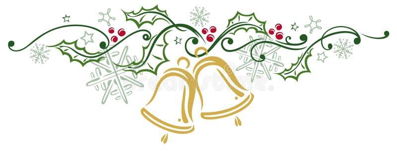 Jul järnek, sätter en klocka på stock illustrationer