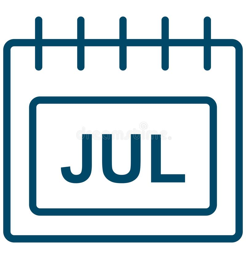 Jul, july Special Event day Vector icon that can be easily modified or edit. royalty free illustration