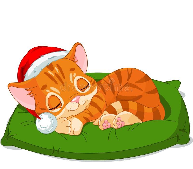 Jul Kitten Sleeping royaltyfri illustrationer