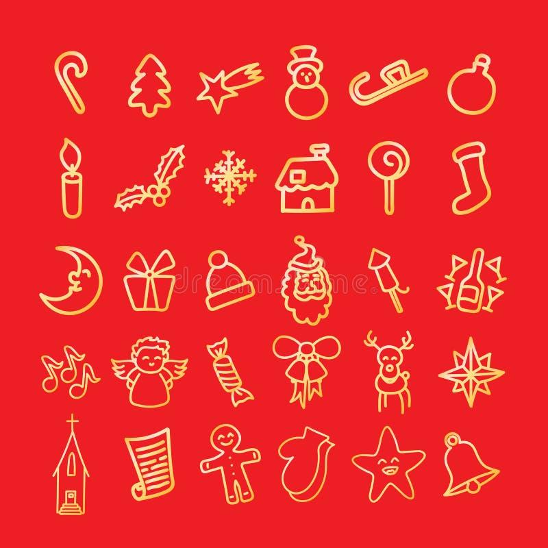 Jul klottrar samlingen i knapphändig stil vektor illustrationer