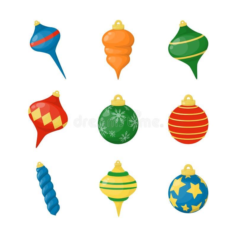 Jul klumpa ihop sig den färgrika illustrationen för vektorn för sfären för ferie för xmas-garneringvintern skinande dekorativa vektor illustrationer