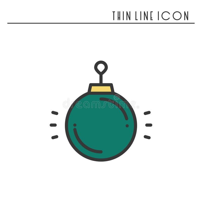 Jul klumpa ihop sig den tunna linjen symbol Pictogram för beröm för nytt år dekorerad översikt Xmas-vinterbeståndsdel Enkel lägen royaltyfri illustrationer