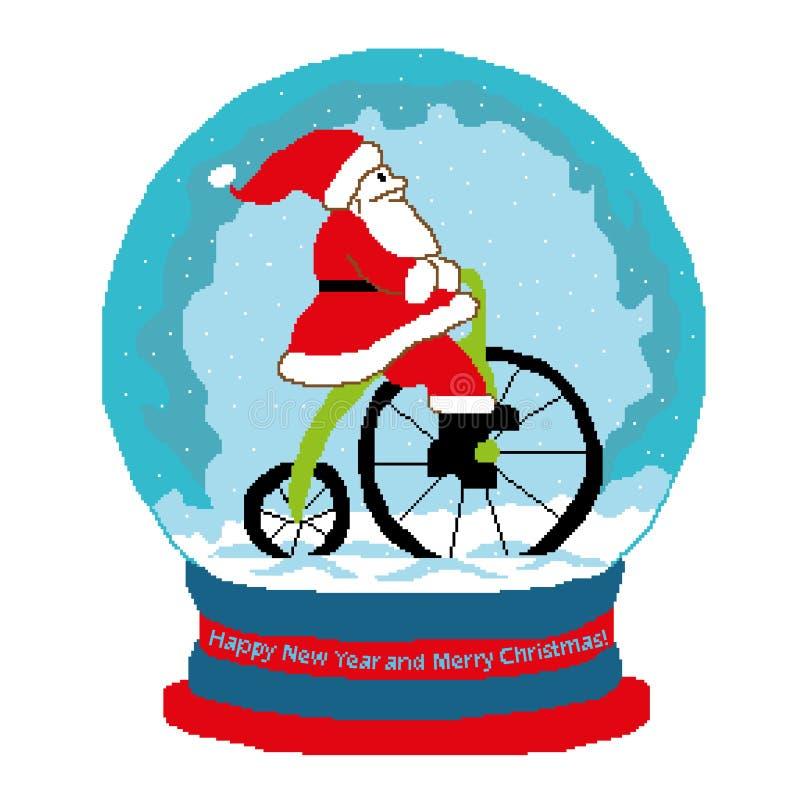 Jul klumpa ihop sig med Santa Claus, Santaklaus på cykeln inom, lyckönskan på nya den drog partiallen för året och för glad jul stock illustrationer
