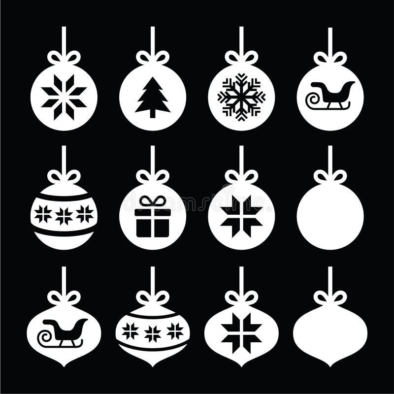 Jul klumpa ihop sig, vita symboler för julstruntsaken på svart stock illustrationer