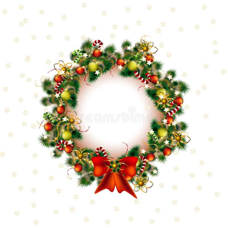 Download Jul Krans, Juldekoträd I Vit Bakgrund, Vektor Vektor Illustrationer - Illustration av hälsning, evergreen: 78727537