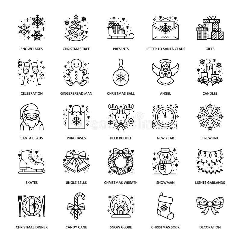 Jul lägenhetlinje symboler för nytt år Vinterferier - gåva för julträd, snögubbe, Santa Claus, fyrverkerier, ängel vektor illustrationer
