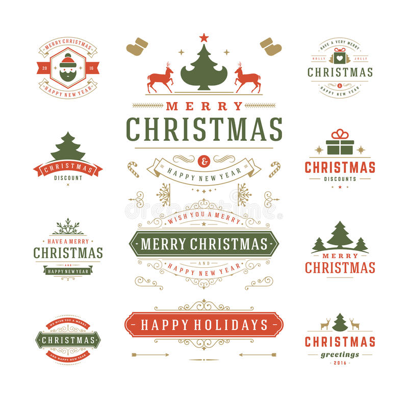 Jul märker och förser med märke vektordesign stock illustrationer
