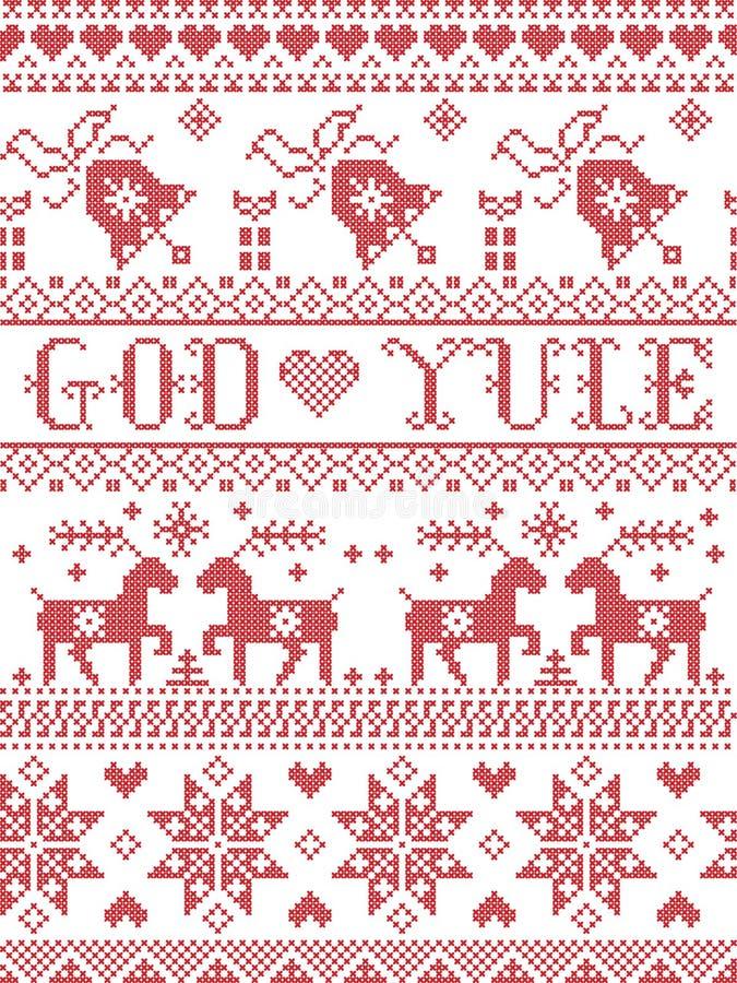 Jul mönstrar glad jul i Yule för den norska guden som den sömlösa modellen inspireras vid den sydde festliga vintern för nordisk  stock illustrationer