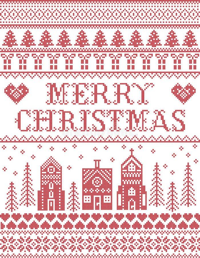 Jul mönstrar med modellen för glad jul för vinterunderlandbyn som den sömlösa inspireras av festlig nordisk kultur stock illustrationer