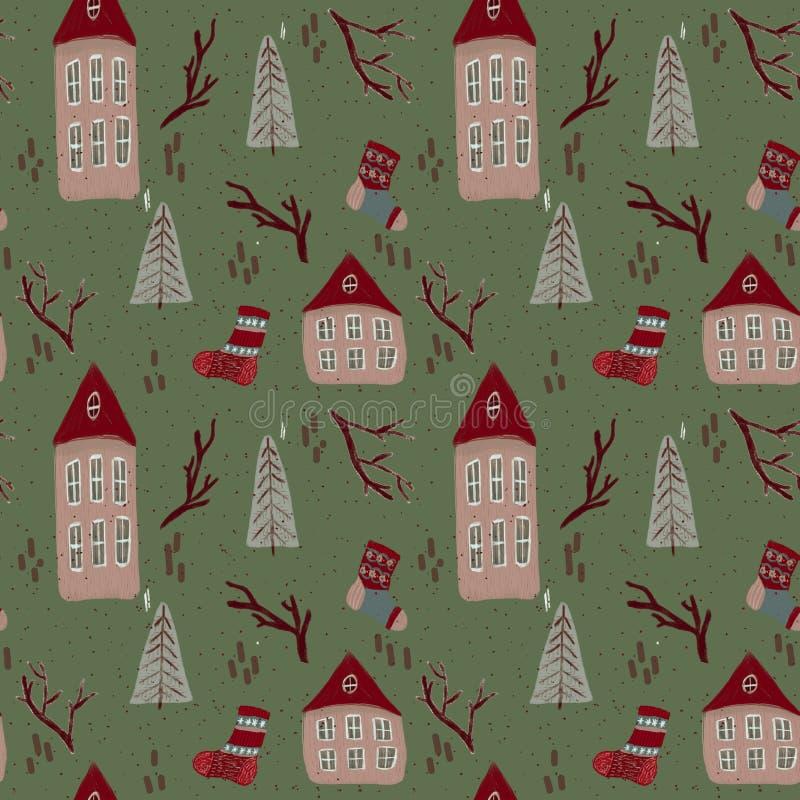 Jul m?nstrar med hus stock illustrationer