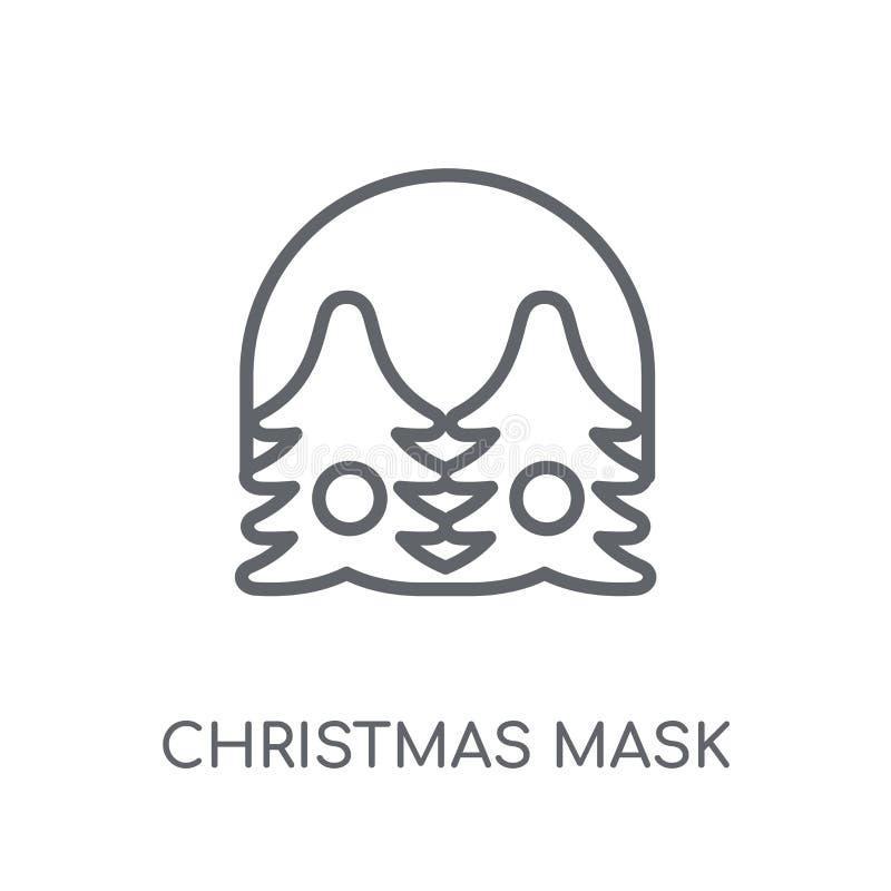 jul maskerar den linjära symbolen Modern logo c för översiktsjulmaskering stock illustrationer