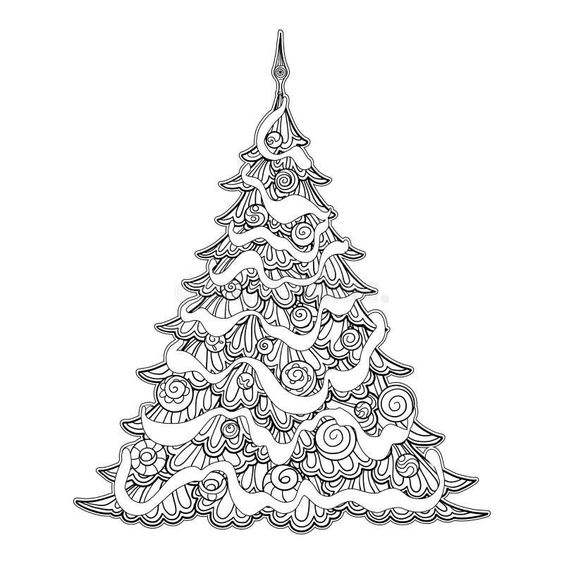 jul min version för portföljtreevektor ljusa färger Goda för att färga sidan för den vuxna färgläggningboken royaltyfri illustrationer