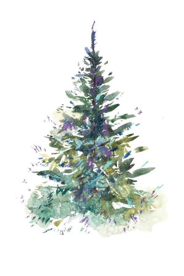 jul min version för portföljtreevektor Nytt år xmas-beröm grupper som tecknar spolning för vattenfärg för blomningflodtrees Akvar royaltyfri illustrationer