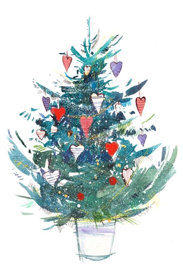 jul min version för portföljtreevektor Nytt år xmas-beröm grupper som tecknar spolning för vattenfärg för blomningflodtrees Akvar vektor illustrationer