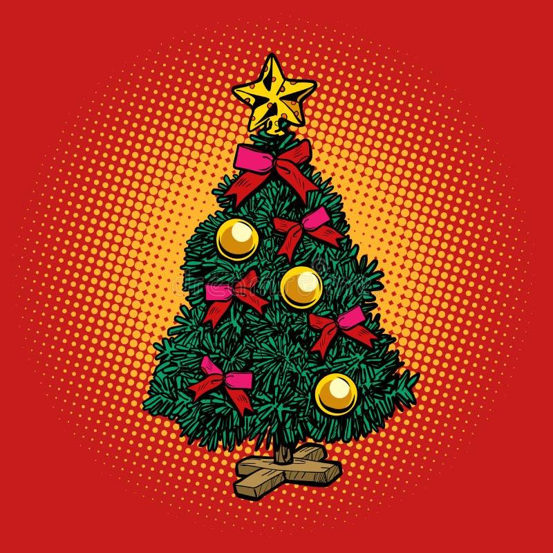 jul min version för portföljtreevektor semestrar nytt år stock illustrationer