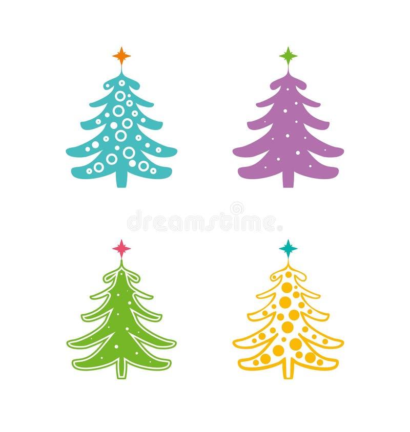 jul min version för portföljtreevektor Ställ in av fyra mångfärgade modeller av konturer av julgranar med stjärnor stock illustrationer