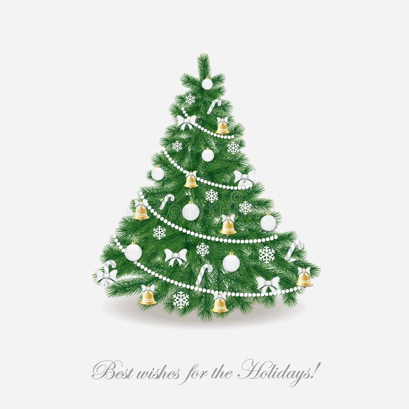 jul min version för portföljtreevektor Traditionellt dekorerat realistiskt vektor illustrationer