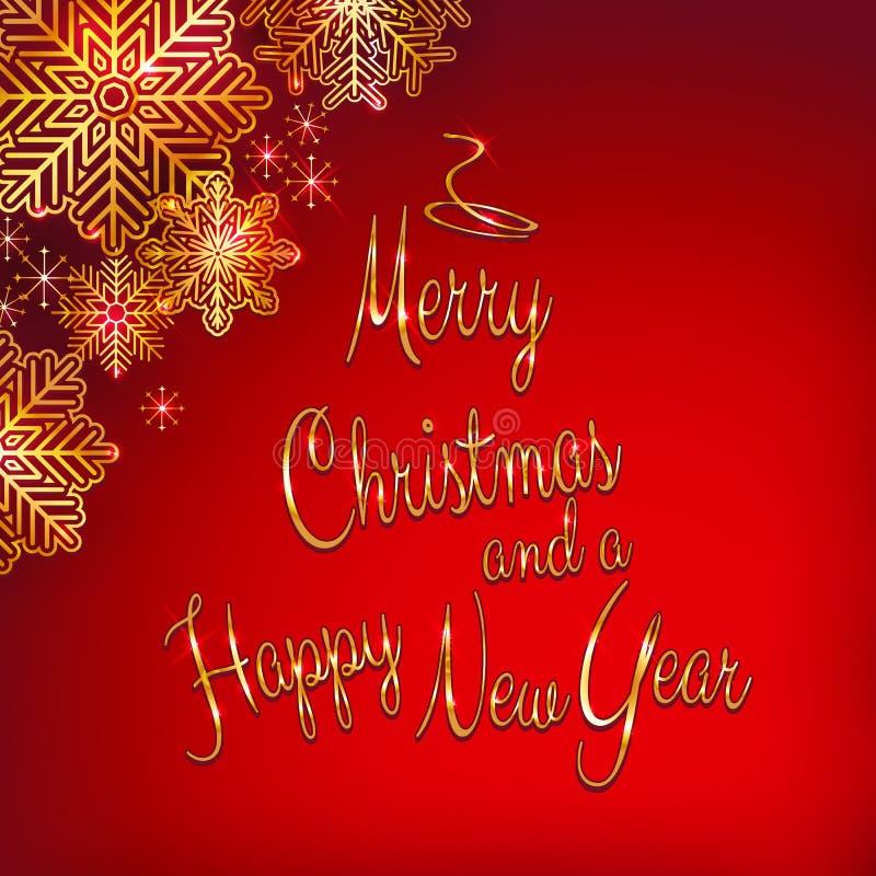 Jul och bakgrund för nytt år med trädet formade guld- text vektor illustrationer