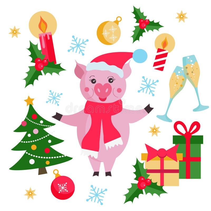Jul och den plana beståndsdeluppsättningen för nytt år med det gulliga svinet, julträdet, gåvor, jul klumpa ihop sig, snöflingor, vektor illustrationer