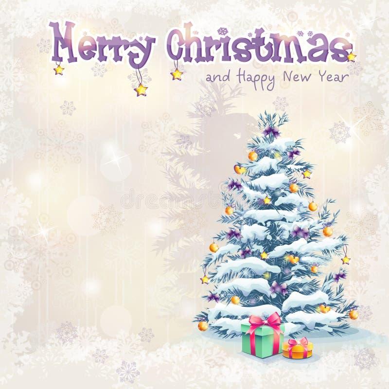 Jul och det nya året med en julgran och gåvor stock illustrationer