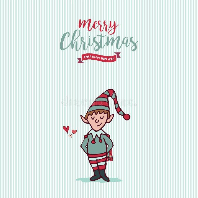 Jul och det nya året semestrar älvatecknad filmkortet stock illustrationer