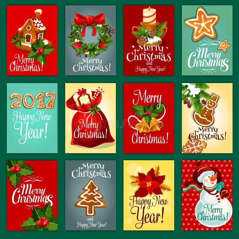 Jul och det nya året semestrar hälsningkortuppsättningen stock illustrationer