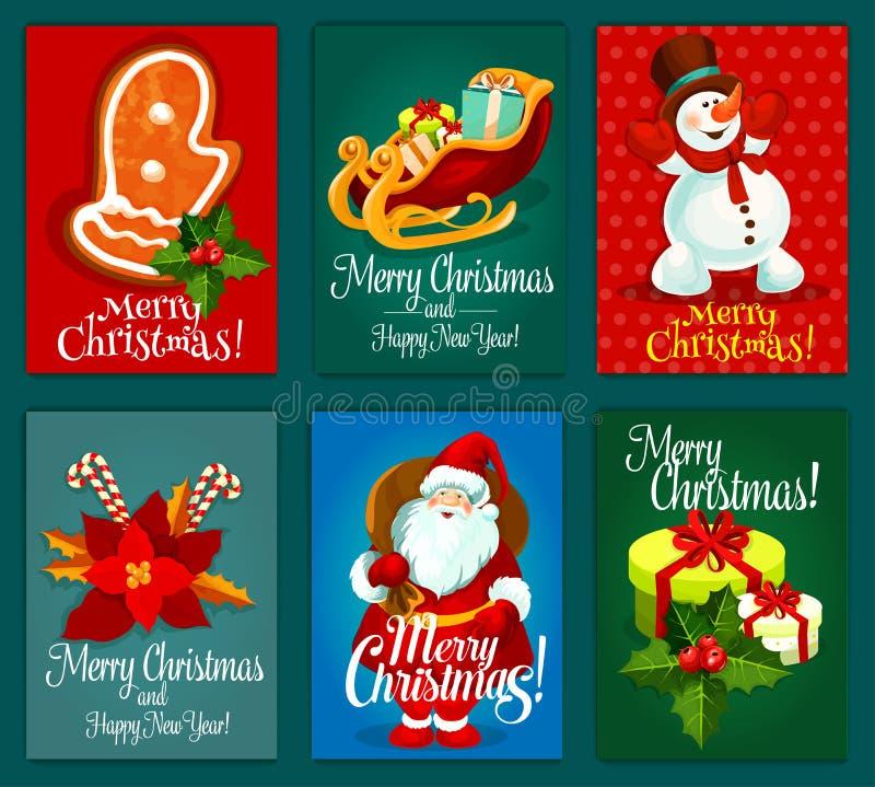 Jul och det nya året semestrar hälsningkortuppsättningen vektor illustrationer