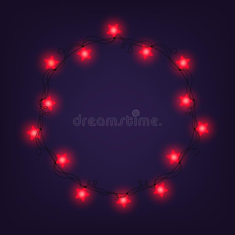 Jul och det nya året tänder girlander som ram på en blå bakgrund, Stjärnaljus royaltyfria bilder