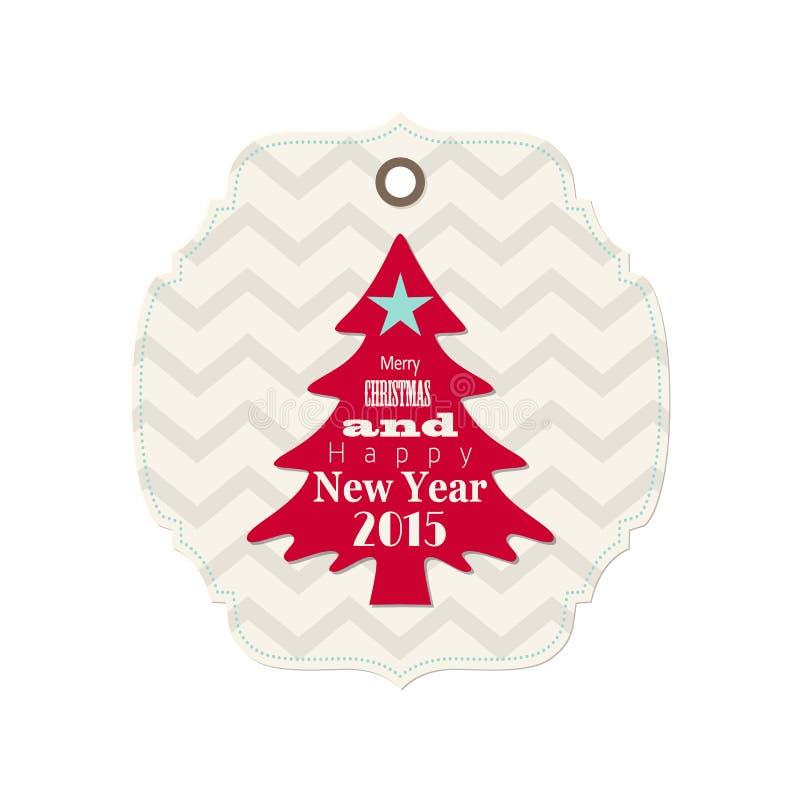 Jul och etikett för nytt år 2015 med det röda trädet vektor illustrationer