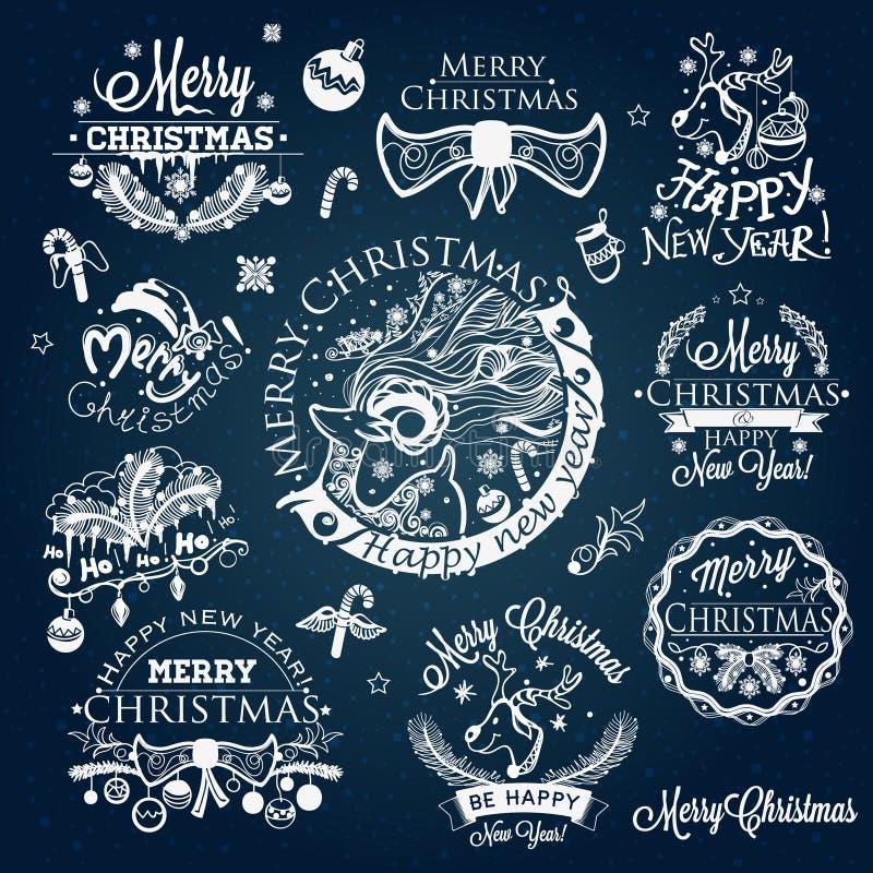 Jul och etiketter för nytt år, garneringuppsättning vektor illustrationer