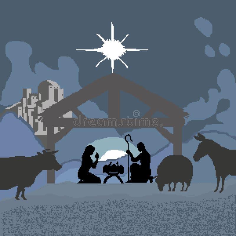 Jul och födelsen av Jesus är en religiös ferie som målas i fyrkanter och PIXEL också vektor för coreldrawillustration royaltyfri illustrationer