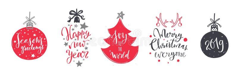 Jul och för bokstäver- och kalligrafiuttryck för nytt år uppsättning 4 stock illustrationer