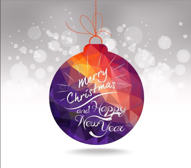 Jul och för bollhälsning för lyckligt nytt år purpurfärgat geometriskt kort royaltyfri illustrationer
