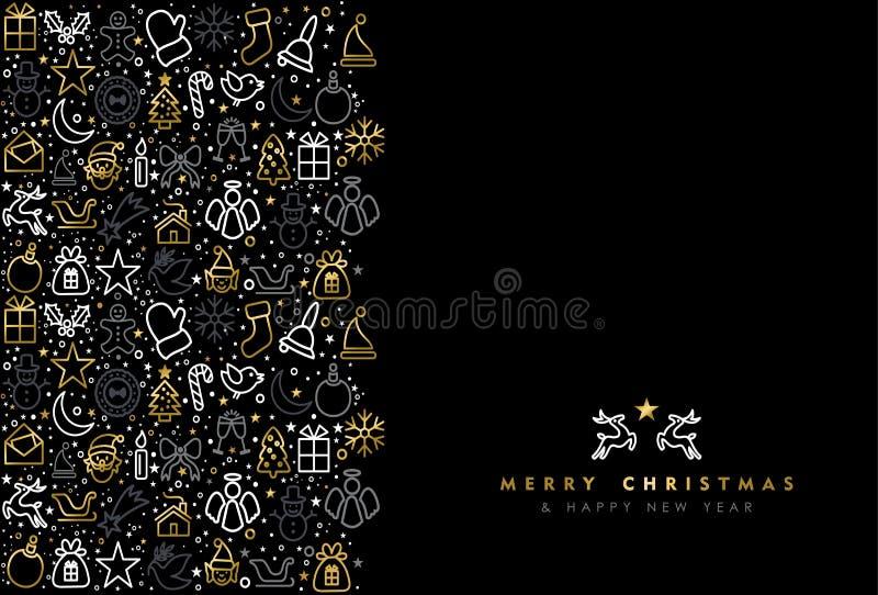 Jul och för symbolshälsning för nytt år guld- kort stock illustrationer